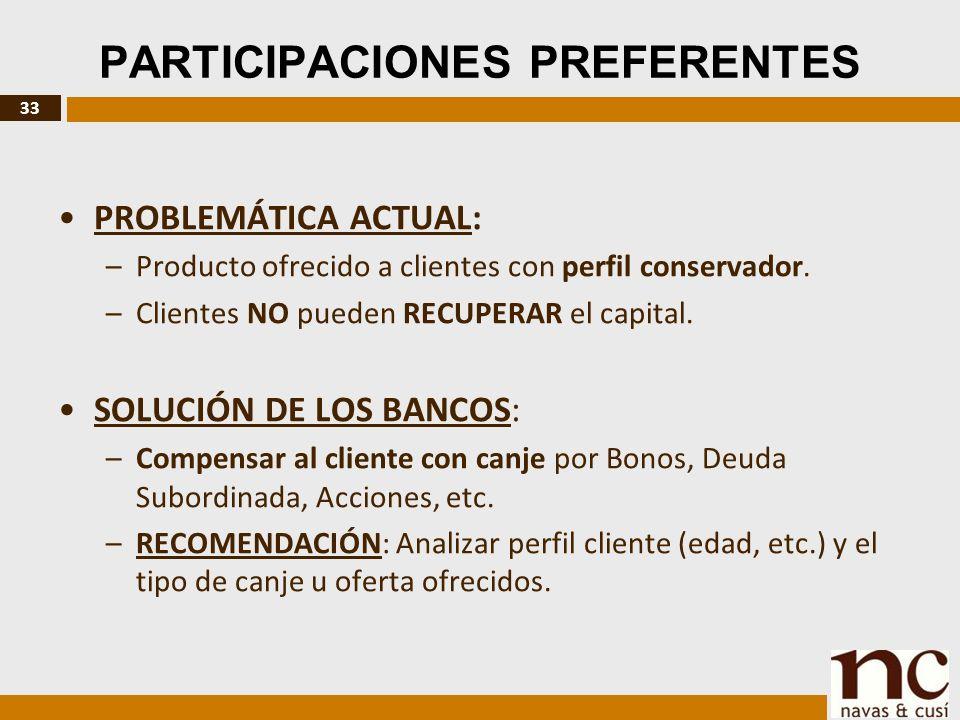 33 PARTICIPACIONES PREFERENTES PROBLEMÁTICA ACTUAL: –Producto ofrecido a clientes con perfil conservador.