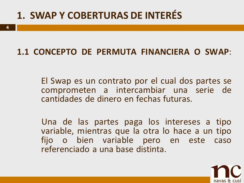 4 1.1 CONCEPTO DE PERMUTA FINANCIERA O SWAP: El Swap es un contrato por el cual dos partes se comprometen a intercambiar una serie de cantidades de dinero en fechas futuras.