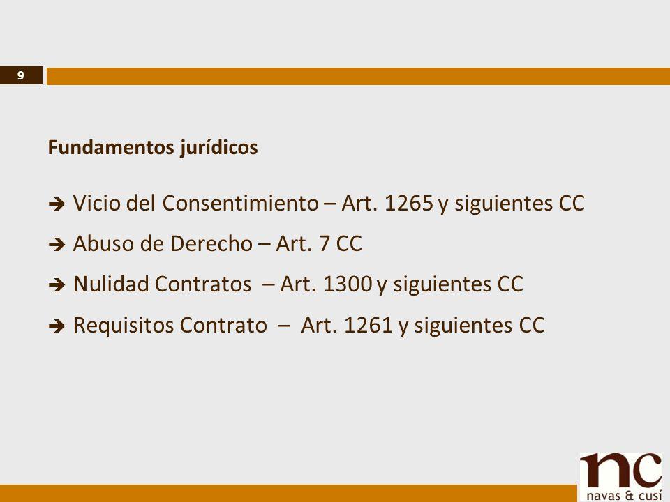 9 Fundamentos jurídicos Vicio del Consentimiento – Art.