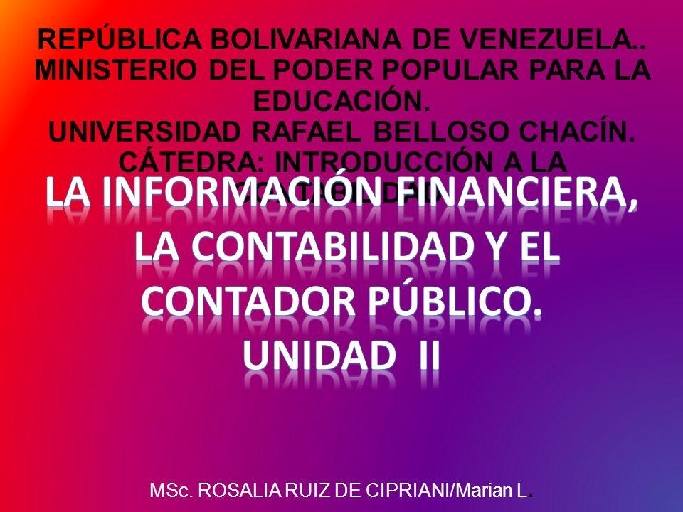 REPÚBLICA BOLIVARIANA DE VENEZUELA.. MINISTERIO DEL PODER POPULAR PARA LA EDUCACIÓN. UNIVERSIDAD RAFAEL BELLOSO CHACÍN. CÁTEDRA: INTRODUCCIÓN A LA CON