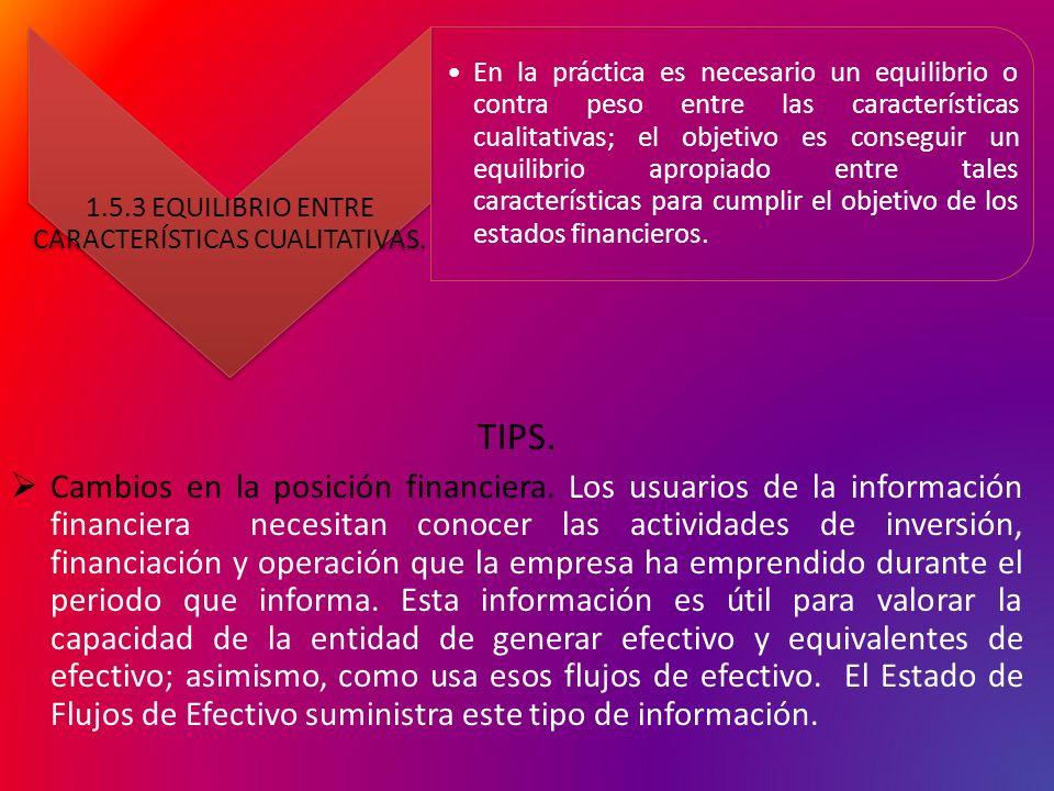 TIPS. Cambios en la posición financiera. Los usuarios de la información financiera necesitan conocer las actividades de inversión, financiación y oper