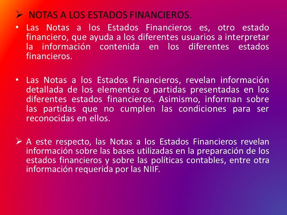 NOTAS A LOS ESTADOS FINANCIEROS. Las Notas a los Estados Financieros es, otro estado financiero, que ayuda a los diferentes usuarios a interpretar la