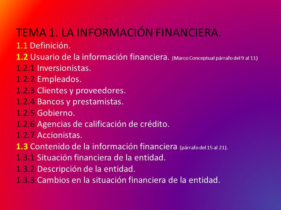 TEMA 1. LA INFORMACIÓN FINANCIERA. 1.1 Definición. 1.2 Usuario de la información financiera. (Marco Conceptual párrafo del 9 al 11) 1.2.1 Inversionist