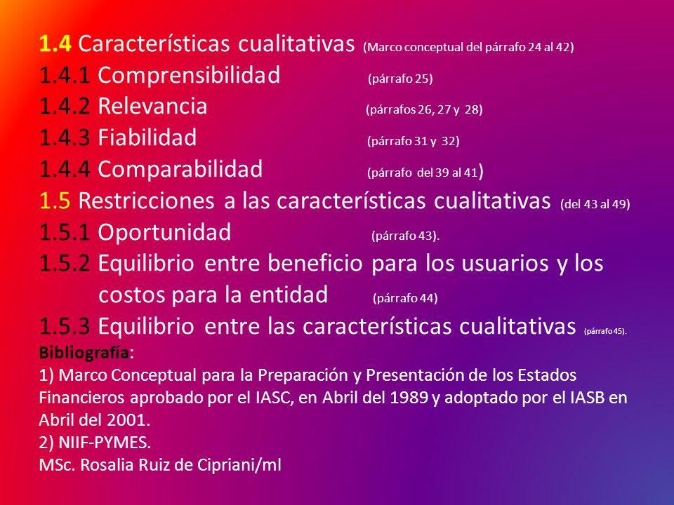 1.4 Características cualitativas (Marco conceptual del párrafo 24 al 42) 1.4.1 Comprensibilidad (párrafo 25) 1.4.2 Relevancia (párrafos 26, 27 y 28) 1
