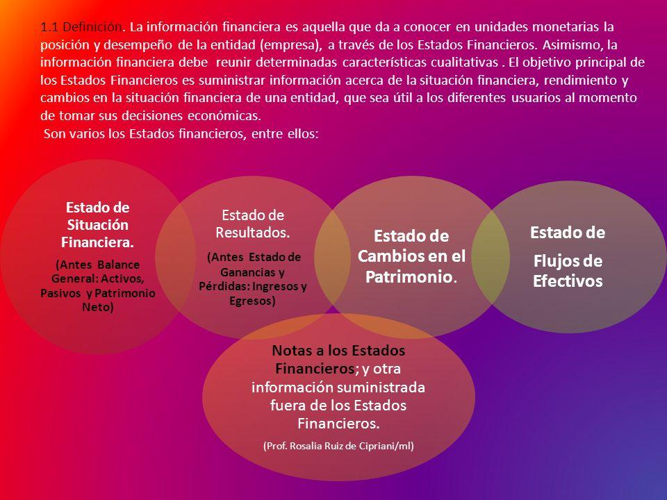 1.1 Definición. La información financiera es aquella que da a conocer en unidades monetarias la posición y desempeño de la entidad (empresa), a través