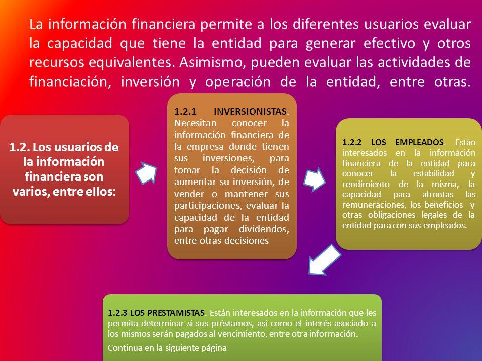 La información financiera permite a los diferentes usuarios evaluar la capacidad que tiene la entidad para generar efectivo y otros recursos equivalen