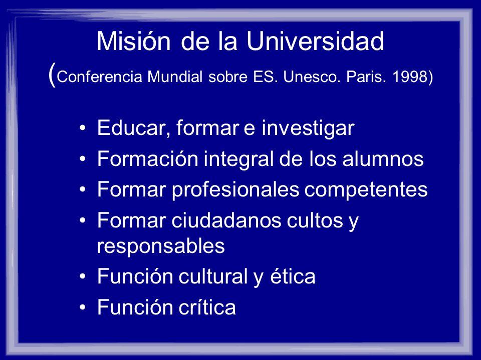 Misión de la Universidad ( Conferencia Mundial sobre ES. Unesco. Paris. 1998) Educar, formar e investigar Formación integral de los alumnos Formar pro