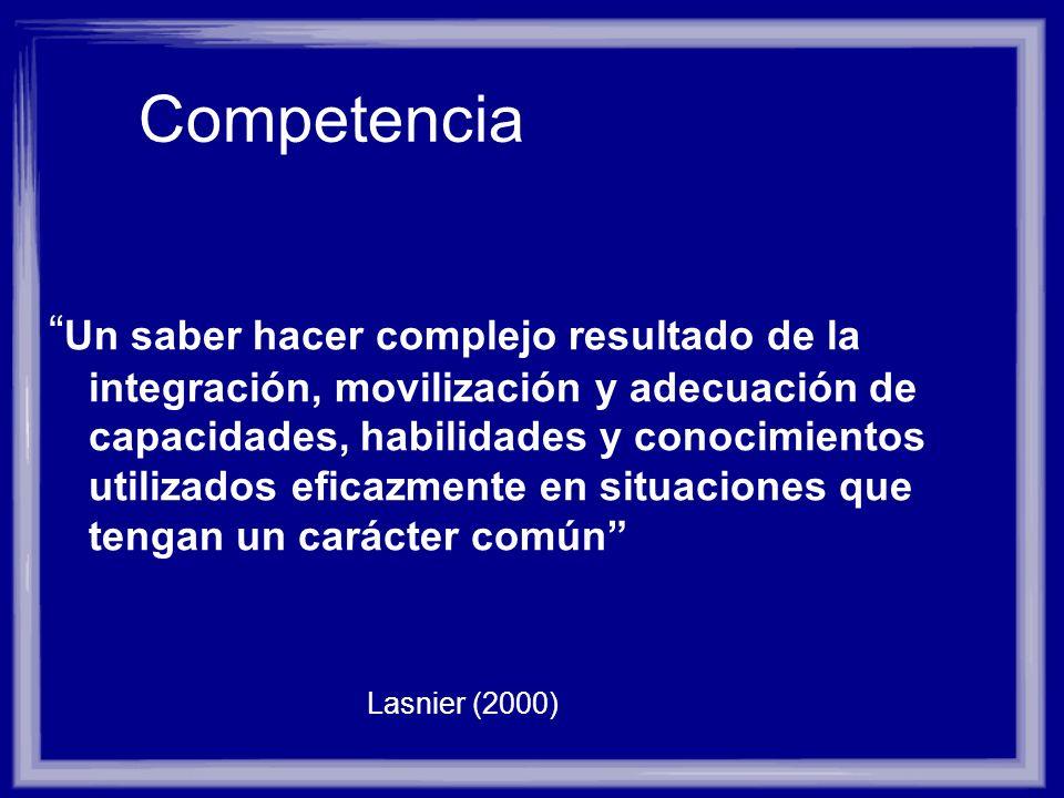Competencia Un saber hacer complejo resultado de la integración, movilización y adecuación de capacidades, habilidades y conocimientos utilizados efic