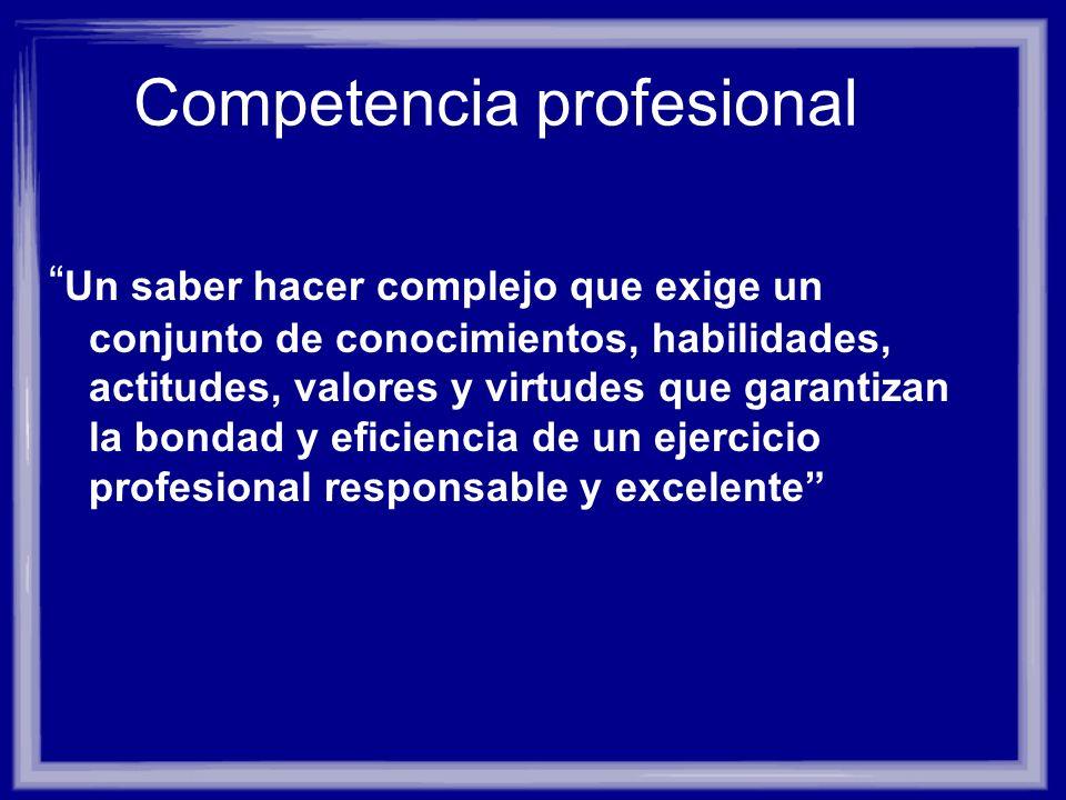 Competencia profesional Un saber hacer complejo que exige un conjunto de conocimientos, habilidades, actitudes, valores y virtudes que garantizan la b