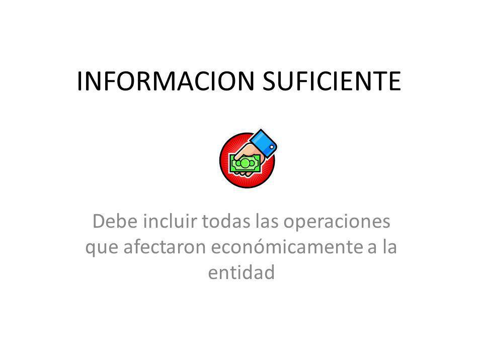 INFORMACION SUFICIENTE Debe incluir todas las operaciones que afectaron económicamente a la entidad