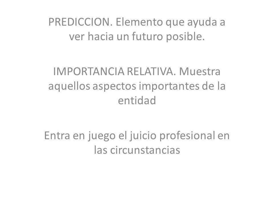 PREDICCION. Elemento que ayuda a ver hacia un futuro posible. IMPORTANCIA RELATIVA. Muestra aquellos aspectos importantes de la entidad Entra en juego