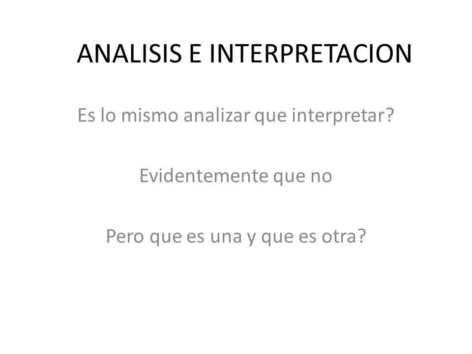 ANALISIS E INTERPRETACION Es lo mismo analizar que interpretar? Evidentemente que no Pero que es una y que es otra?