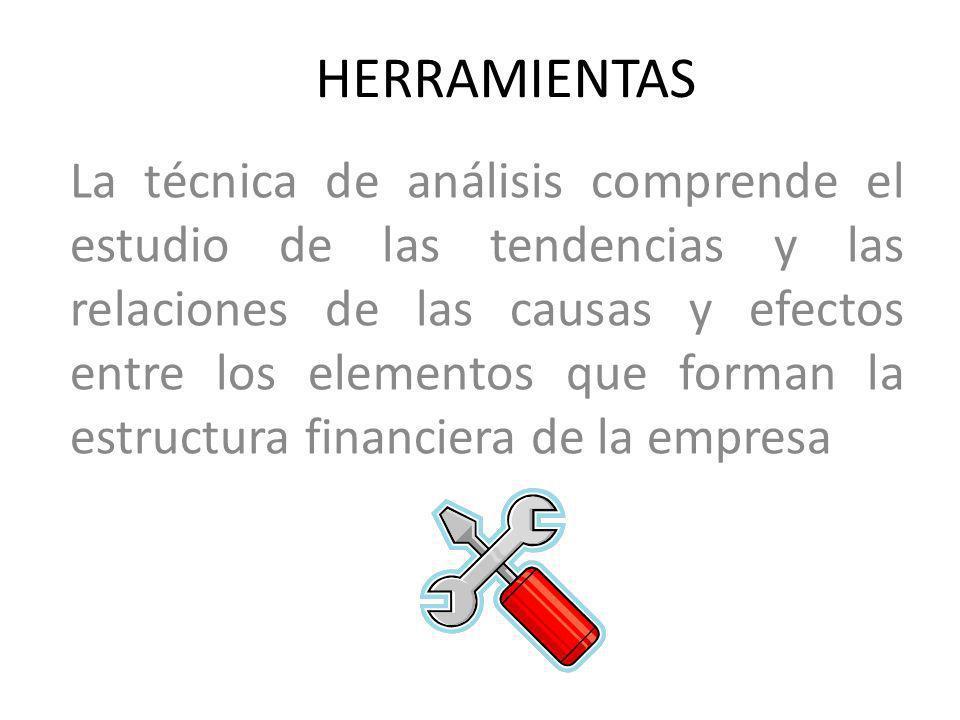 HERRAMIENTAS La técnica de análisis comprende el estudio de las tendencias y las relaciones de las causas y efectos entre los elementos que forman la