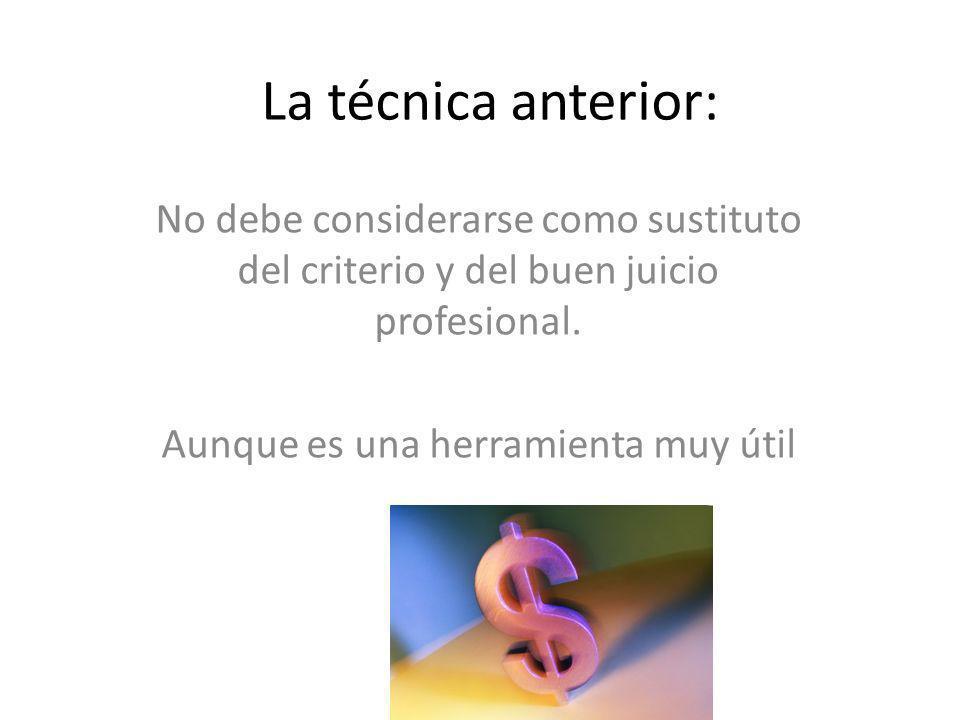La técnica anterior: No debe considerarse como sustituto del criterio y del buen juicio profesional. Aunque es una herramienta muy útil