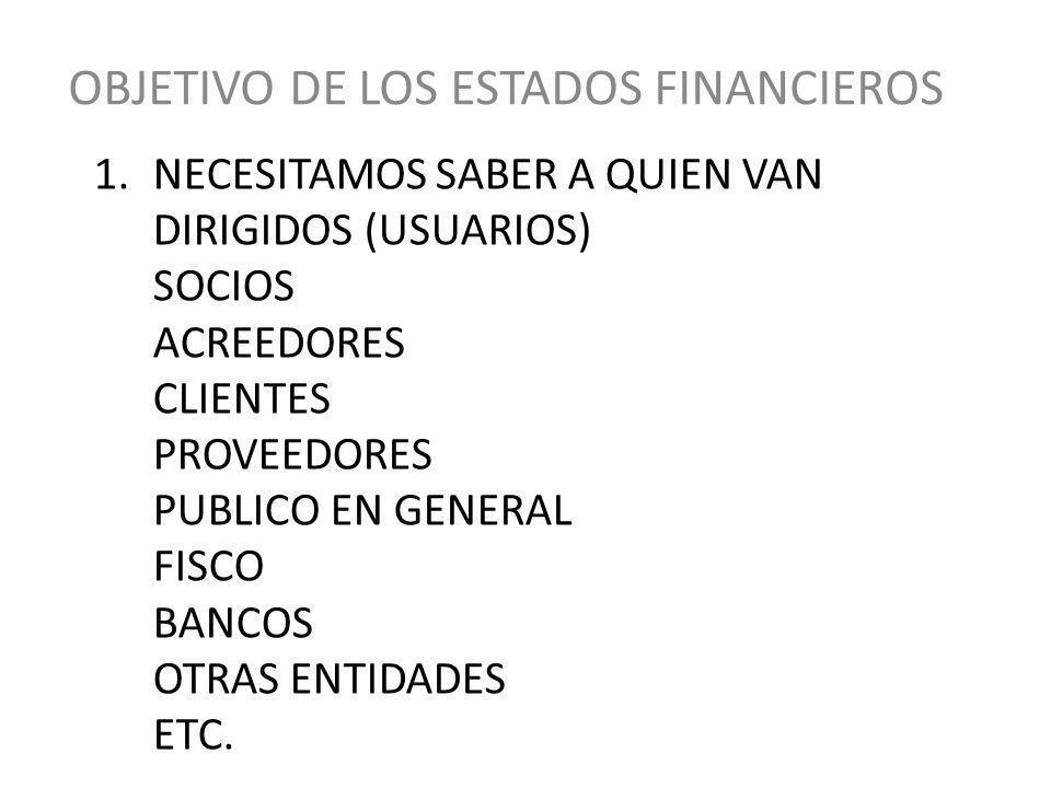 OBJETIVO Los Estados Financieros principales tienen como objetivo informar sobre la situación Financiera de la empresa a una fecha determinada y sobre los resultados de sus operaciones y el flujo de fondos por un periodo determinado