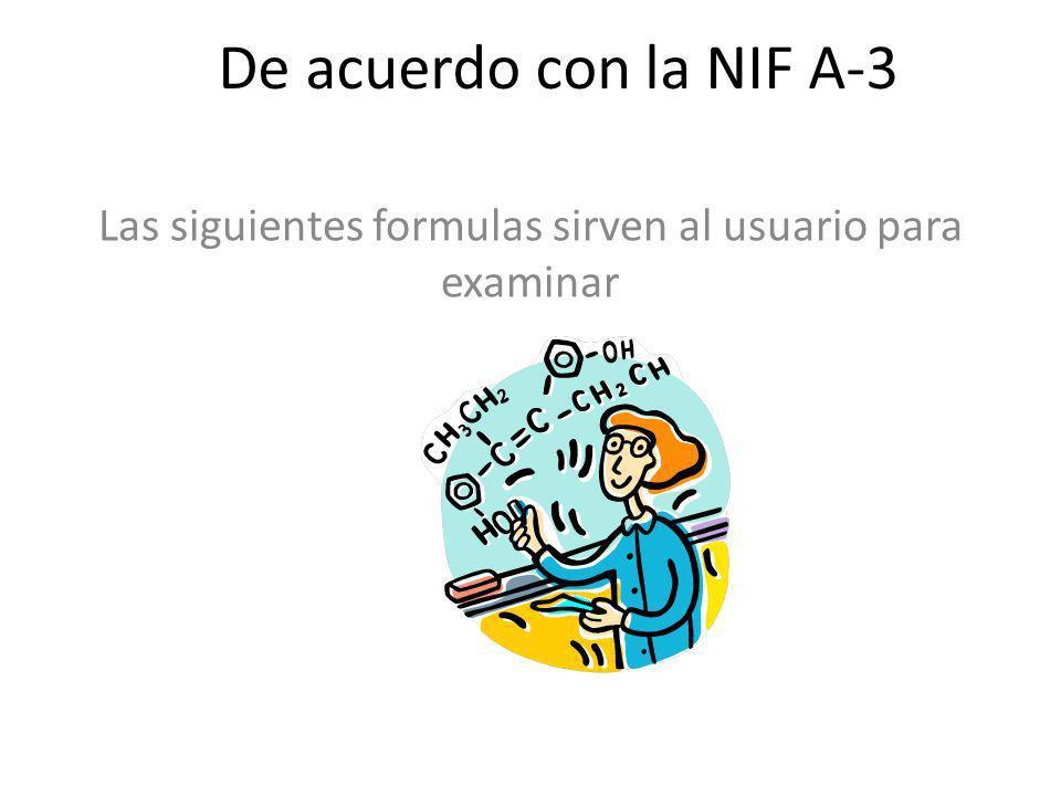 De acuerdo con la NIF A-3 Las siguientes formulas sirven al usuario para examinar