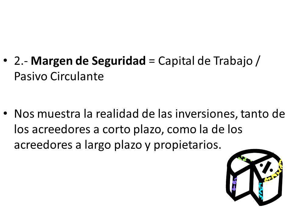 2.- Margen de Seguridad = Capital de Trabajo / Pasivo Circulante Nos muestra la realidad de las inversiones, tanto de los acreedores a corto plazo, co