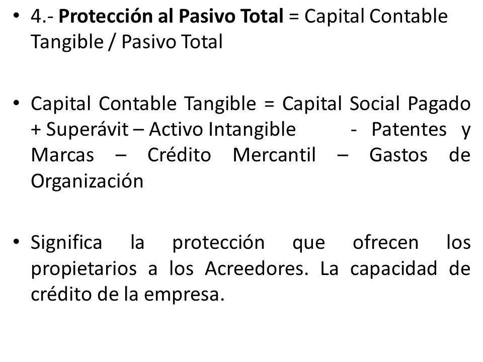 4.- Protección al Pasivo Total = Capital Contable Tangible / Pasivo Total Capital Contable Tangible = Capital Social Pagado + Superávit – Activo Intan