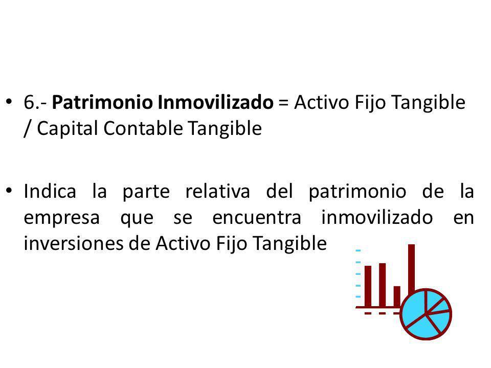 6.- Patrimonio Inmovilizado = Activo Fijo Tangible / Capital Contable Tangible Indica la parte relativa del patrimonio de la empresa que se encuentra