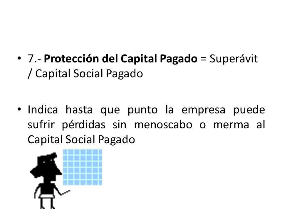 7.- Protección del Capital Pagado = Superávit / Capital Social Pagado Indica hasta que punto la empresa puede sufrir pérdidas sin menoscabo o merma al