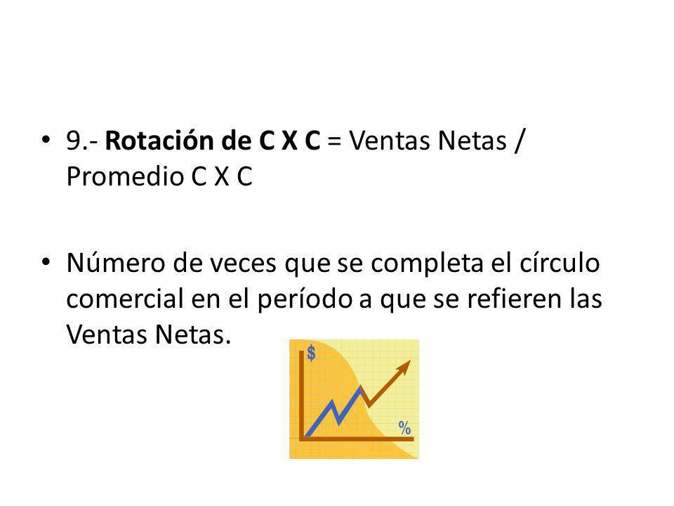 9.- Rotación de C X C = Ventas Netas / Promedio C X C Número de veces que se completa el círculo comercial en el período a que se refieren las Ventas