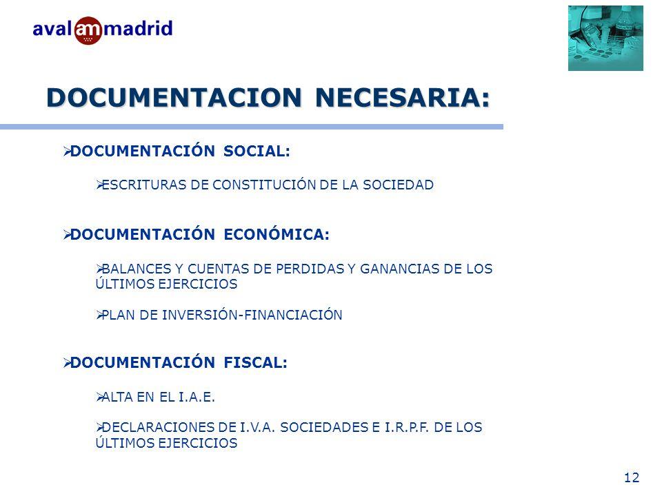 12 DOCUMENTACION NECESARIA: DOCUMENTACIÓN SOCIAL: ESCRITURAS DE CONSTITUCIÓN DE LA SOCIEDAD DOCUMENTACIÓN ECONÓMICA: BALANCES Y CUENTAS DE PERDIDAS Y GANANCIAS DE LOS ÚLTIMOS EJERCICIOS PLAN DE INVERSIÓN-FINANCIACIÓN DOCUMENTACIÓN FISCAL: ALTA EN EL I.A.E.