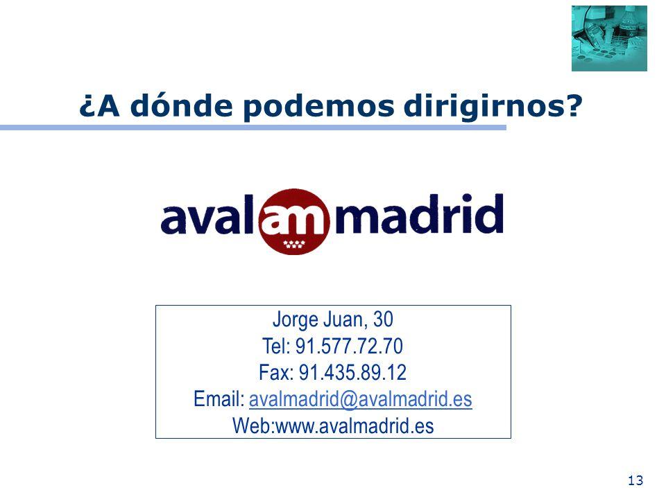 13 Jorge Juan, 30 Tel: 91.577.72.70 Fax: 91.435.89.12 Email: avalmadrid@avalmadrid.esavalmadrid@avalmadrid.es Web:www.avalmadrid.es ¿A dónde podemos dirigirnos