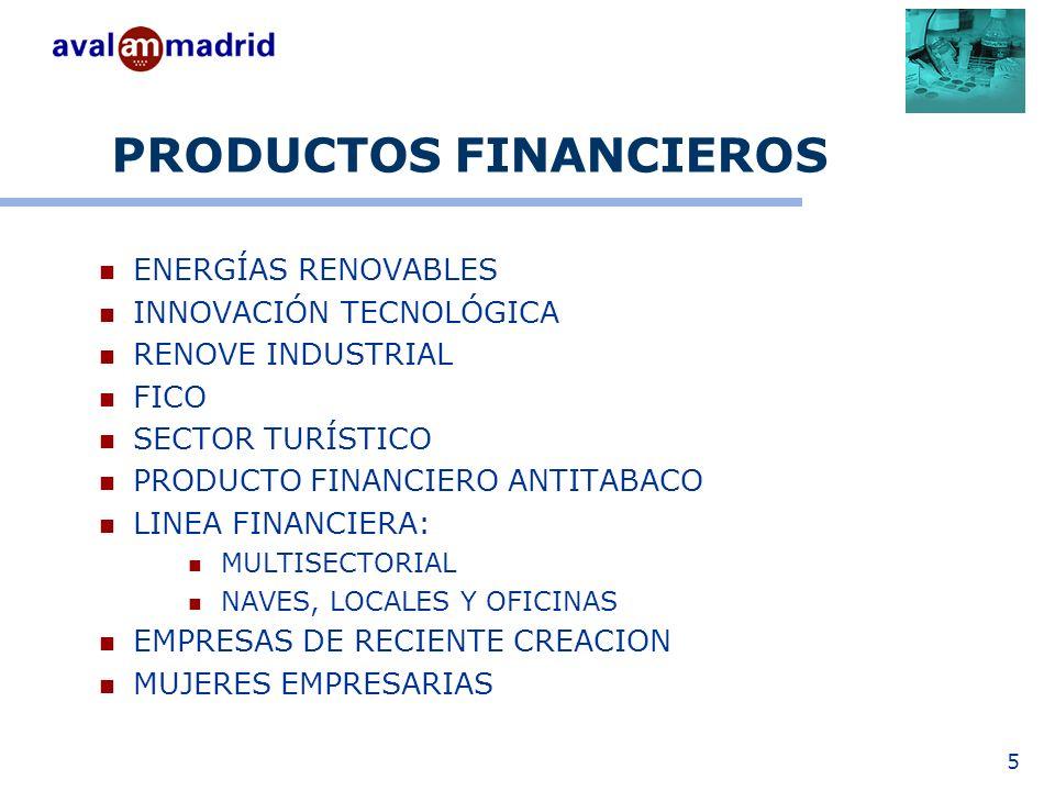 5 PRODUCTOS FINANCIEROS ENERGÍAS RENOVABLES INNOVACIÓN TECNOLÓGICA RENOVE INDUSTRIAL FICO SECTOR TURÍSTICO PRODUCTO FINANCIERO ANTITABACO LINEA FINANCIERA: MULTISECTORIAL NAVES, LOCALES Y OFICINAS EMPRESAS DE RECIENTE CREACION MUJERES EMPRESARIAS
