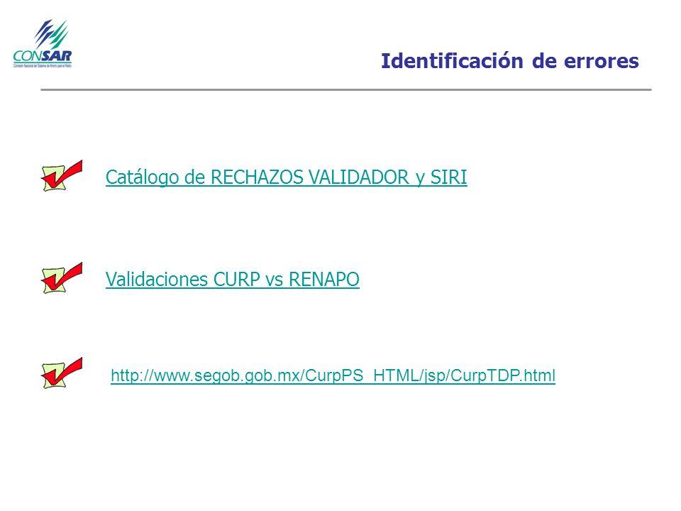Identificación de errores Catálogo de RECHAZOS VALIDADOR y SIRI Validaciones CURP vs RENAPO http://www.segob.gob.mx/CurpPS_HTML/jsp/CurpTDP.html