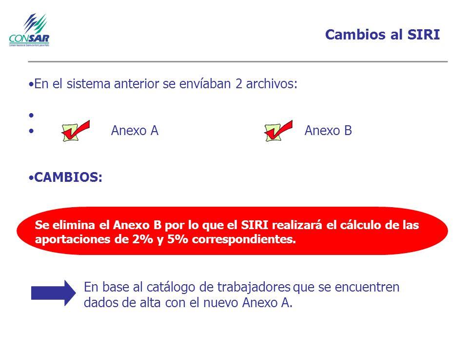 Cambios al SIRI En el sistema anterior se envíaban 2 archivos: Anexo A Anexo B CAMBIOS: Se elimina el Anexo B por lo que el SIRI realizará el cálculo de las aportaciones de 2% y 5% correspondientes.