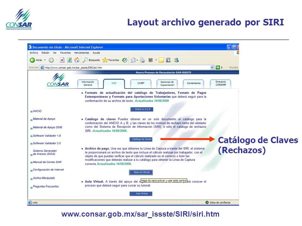 Layout archivo generado por SIRI Catálogo de Claves (Rechazos) www.consar.gob.mx/sar_issste/SIRI/siri.htm