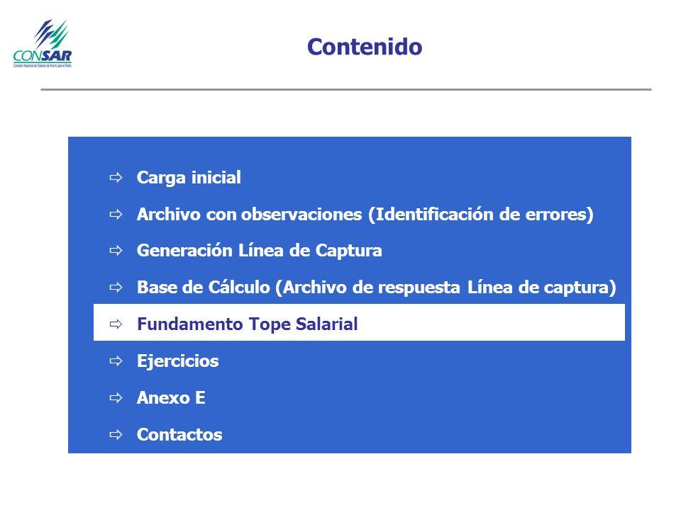 Contenido Carga inicial Archivo con observaciones (Identificación de errores) Generación Línea de Captura Base de Cálculo (Archivo de respuesta Línea de captura) Fundamento Tope Salarial Ejercicios Anexo E Contactos