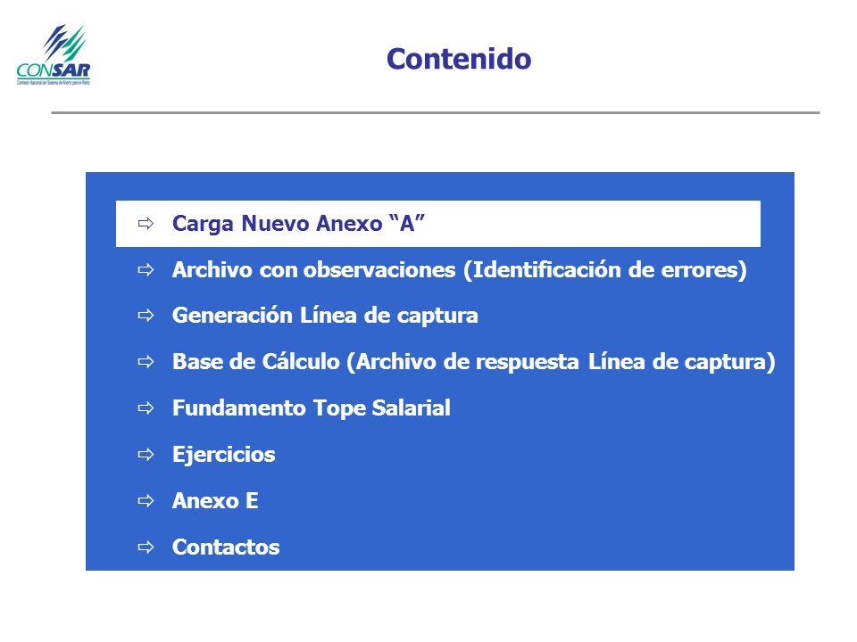 Contenido Carga Nuevo Anexo A Archivo con observaciones (Identificación de errores) Generación Línea de captura Base de Cálculo (Archivo de respuesta Línea de captura) Fundamento Tope Salarial Ejercicios Anexo E Contactos