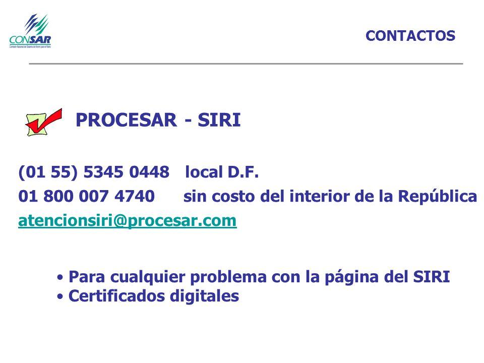 CONTACTOS PROCESAR - SIRI (01 55) 5345 0448 local D.F.