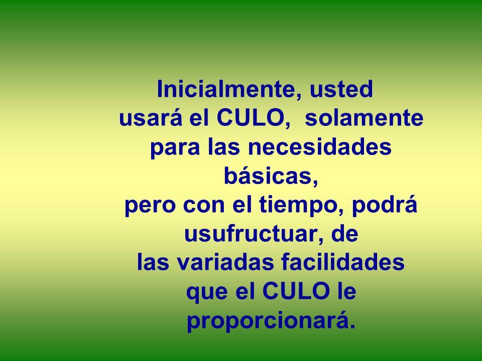 Inicialmente, usted usará el CULO, solamente para las necesidades básicas, pero con el tiempo, podrá usufructuar, de las variadas facilidades que el C