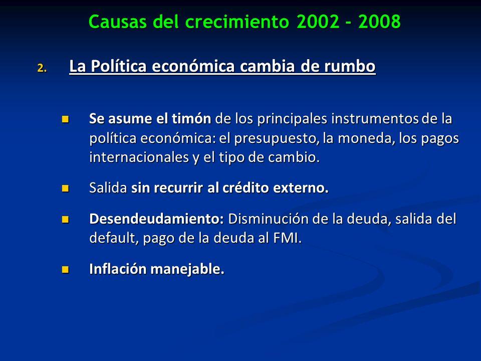 Causas del crecimiento 2002 - 2008 2. La Política económica cambia de rumbo Se asume el timón de los principales instrumentos de la política económica