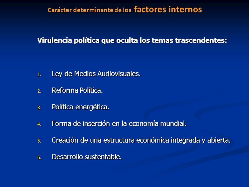 Carácter determinante de los factores internos Virulencia política que oculta los temas trascendentes: 1. Ley de Medios Audiovisuales. 2. Reforma Polí