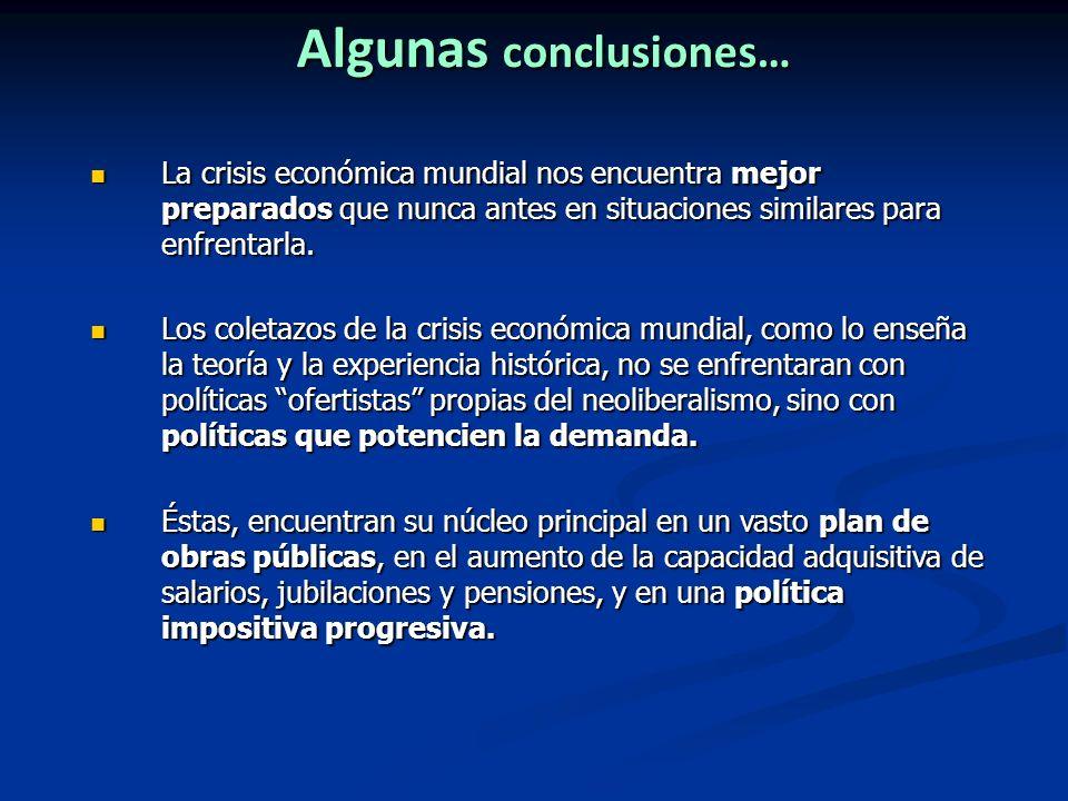 Algunas conclusiones… La crisis económica mundial nos encuentra mejor preparados que nunca antes en situaciones similares para enfrentarla. La crisis