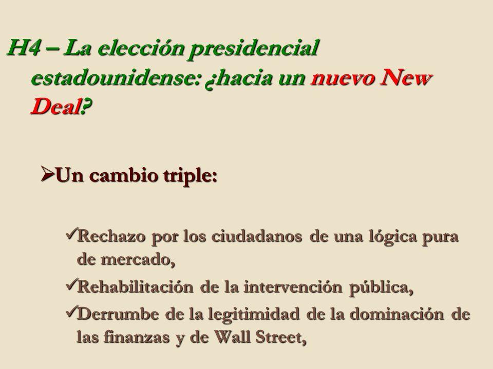 H4 – La elección presidencial estadounidense: ¿hacia un nuevo New Deal? Un cambio triple: Un cambio triple: Rechazo por los ciudadanos de una lógica p