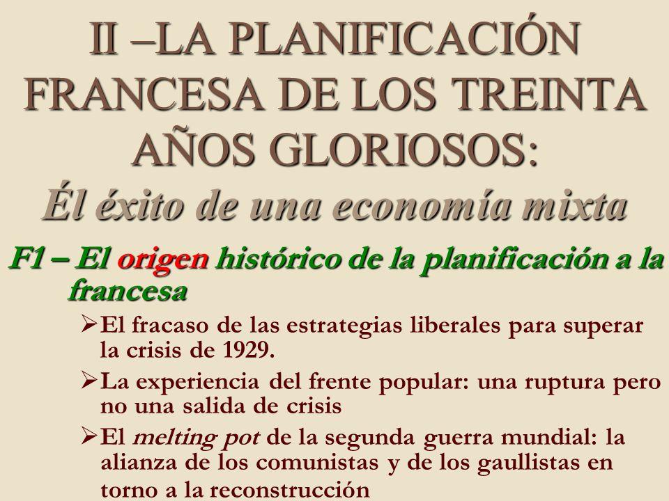 II –LA PLANIFICACIÓN FRANCESA DE LOS TREINTA AÑOS GLORIOSOS: Él éxito de una economía mixta F1 – El origen histórico de la planificación a la francesa