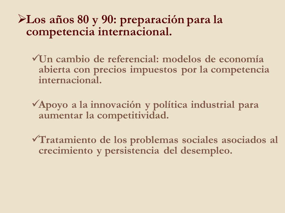 Los años 80 y 90: preparación para la competencia internacional. Un cambio de referencial: modelos de economía abierta con precios impuestos por la co