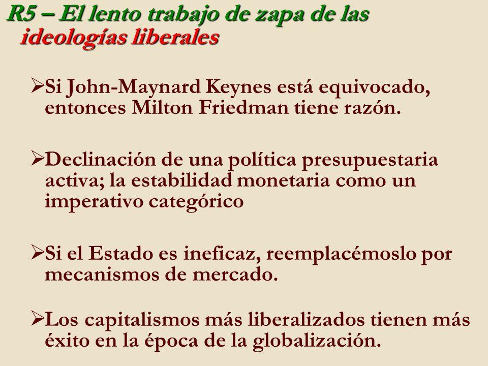 R5 – El lento trabajo de zapa de las ideologías liberales Si John-Maynard Keynes está equivocado, entonces Milton Friedman tiene razón. Declinación de