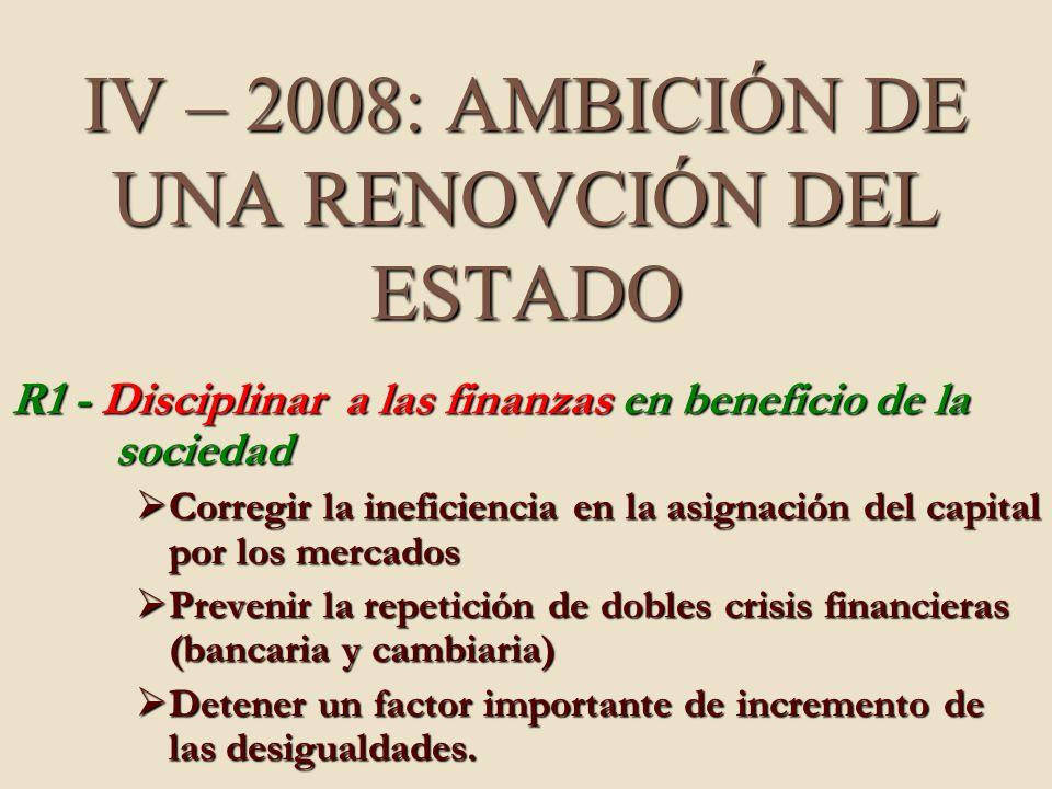 IV – 2008: AMBICIÓN DE UNA RENOVCIÓN DEL ESTADO R1 - Disciplinar a las finanzas en beneficio de la sociedad Corregir la ineficiencia en la asignación del capital por los mercados Corregir la ineficiencia en la asignación del capital por los mercados Prevenir la repetición de dobles crisis financieras (bancaria y cambiaria) Prevenir la repetición de dobles crisis financieras (bancaria y cambiaria) Detener un factor importante de incremento de las desigualdades.