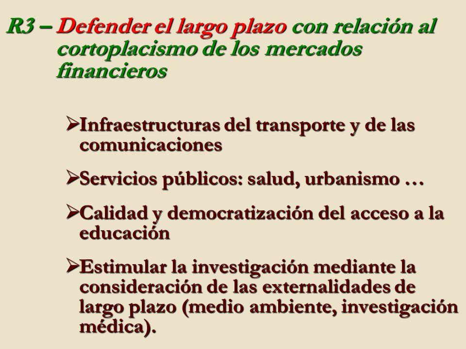 R3 – Defender el largo plazo con relación al cortoplacismo de los mercados financieros Infraestructuras del transporte y de las comunicaciones Infraes