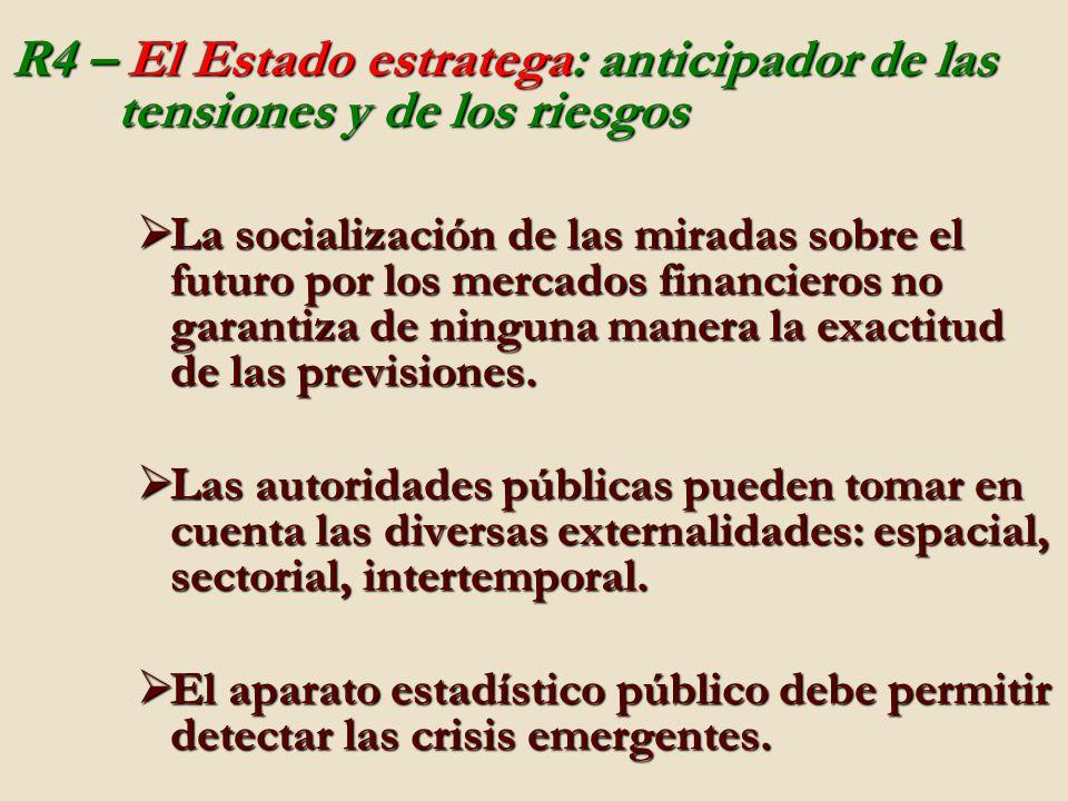 R4 – El Estado estratega: anticipador de las tensiones y de los riesgos La socialización de las miradas sobre el futuro por los mercados financieros no garantiza de ninguna manera la exactitud de las previsiones.
