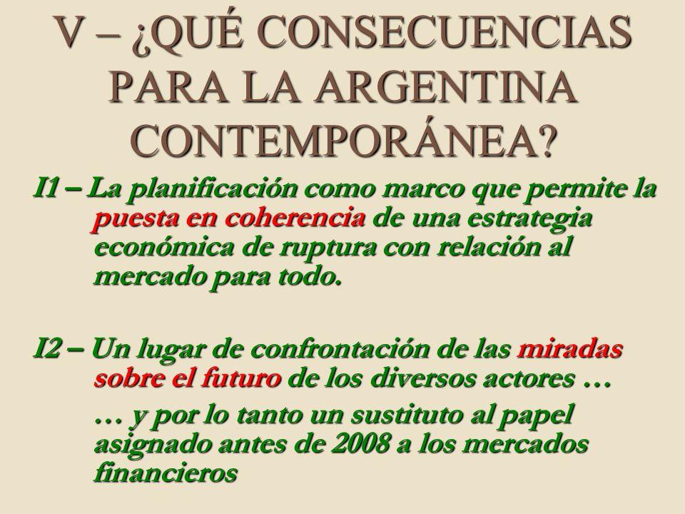 V – ¿QUÉ CONSECUENCIAS PARA LA ARGENTINA CONTEMPORÁNEA? I1 – La planificación como marco que permite la puesta en coherencia de una estrategia económi