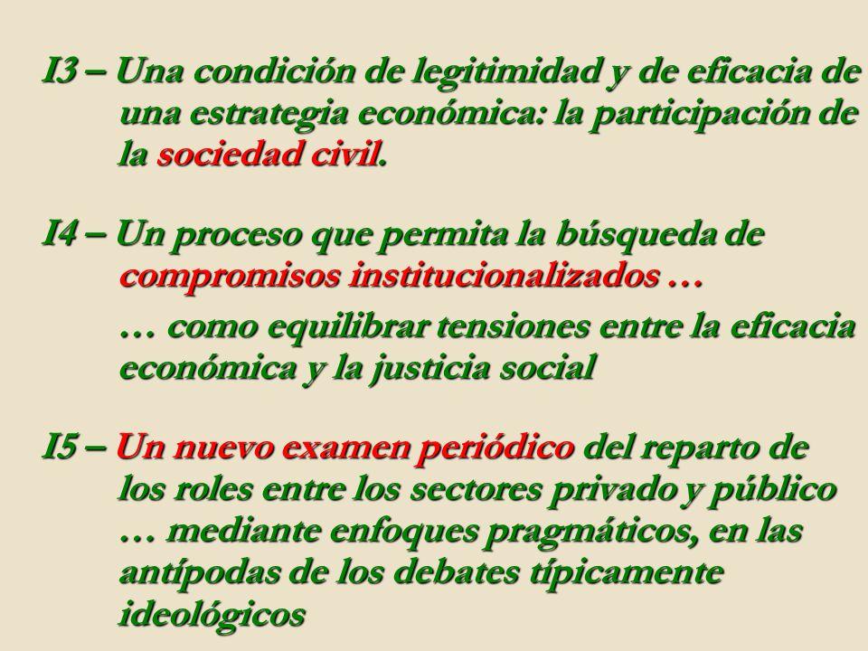 I3 – Una condición de legitimidad y de eficacia de una estrategia económica: la participación de la sociedad civil. I4 – Un proceso que permita la bús