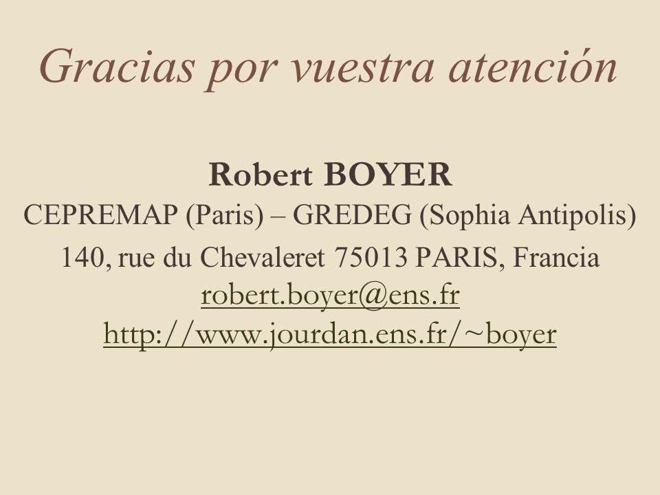 Gracias por vuestra atención Robert BOYER CEPREMAP (Paris) – GREDEG (Sophia Antipolis) 140, rue du Chevaleret 75013 PARIS, Francia robert.boyer@ens.fr http://www.jourdan.ens.fr/~boyer