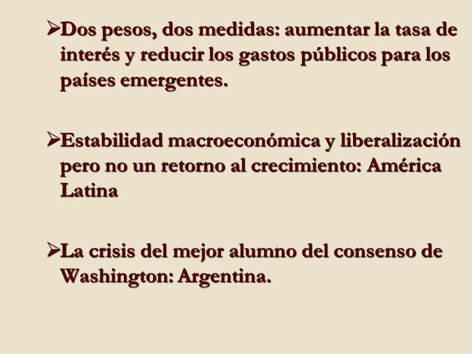 Dos pesos, dos medidas: aumentar la tasa de interés y reducir los gastos públicos para los países emergentes.