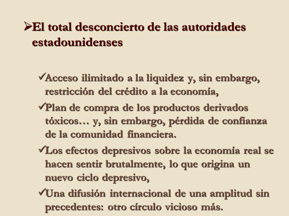 El total desconcierto de las autoridades estadounidenses El total desconcierto de las autoridades estadounidenses Acceso ilimitado a la liquidez y, sin embargo, restricción del crédito a la economía, Acceso ilimitado a la liquidez y, sin embargo, restricción del crédito a la economía, Plan de compra de los productos derivados tóxicos… y, sin embargo, pérdida de confianza de la comunidad financiera.